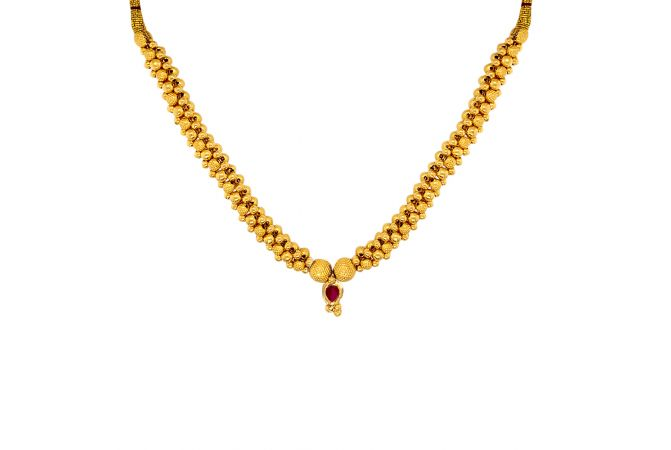Elegant Traditional Gemstone Gold Thushi