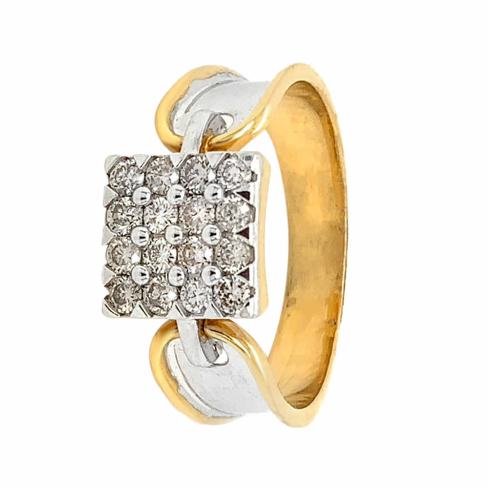 Glittering Box Design Two Tone Diamond Ring