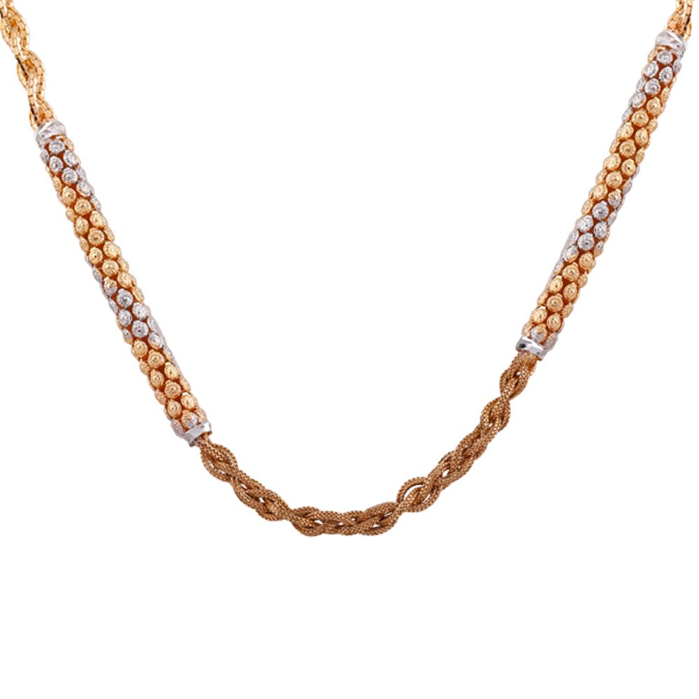Gold Chains Matte Glossy Finish Embossed Floral Rhodhium Polish Jumbled Knot Gold Chain  gc361_1.jpg
