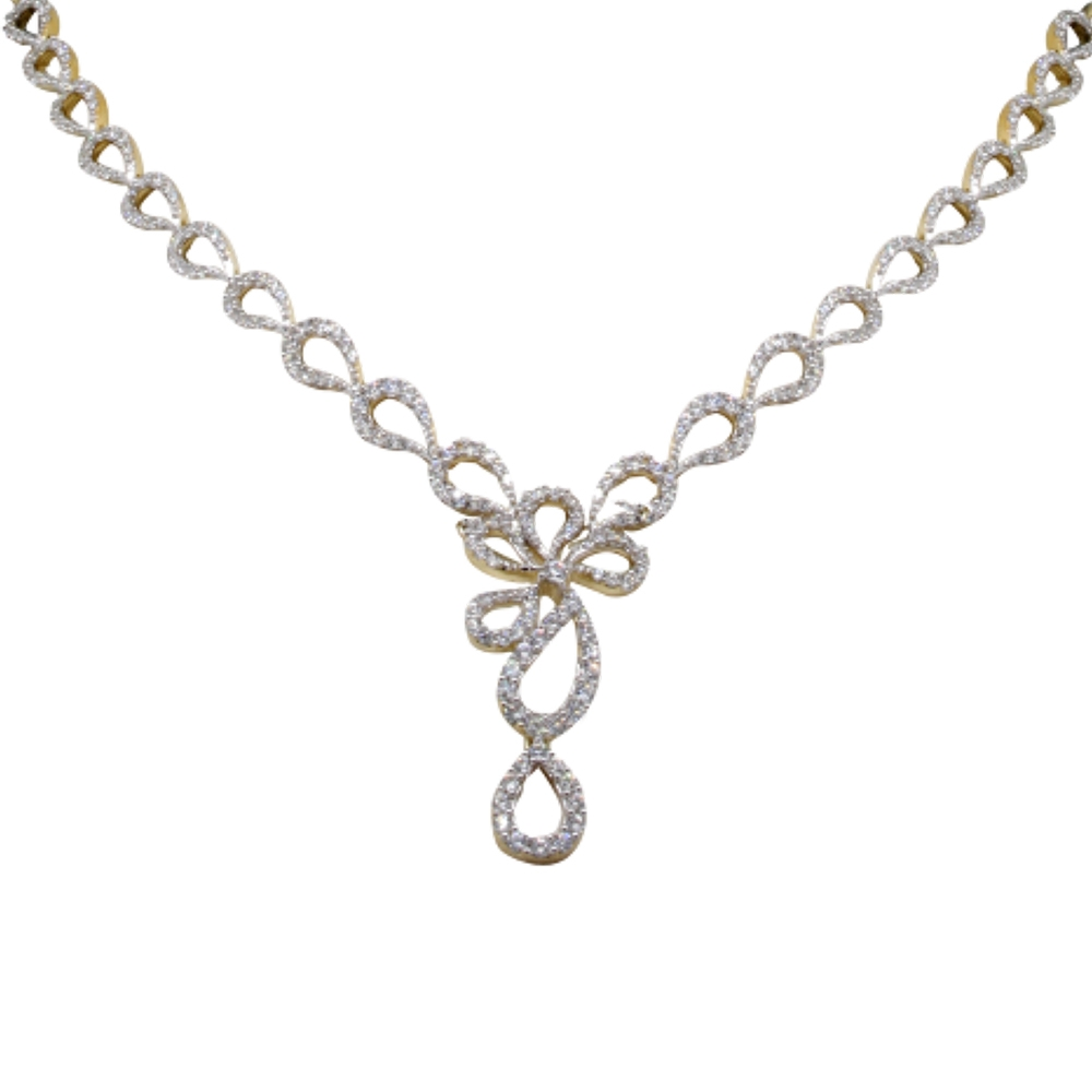 Glittering Prong Set Paisely Dangler Diamond Necklace