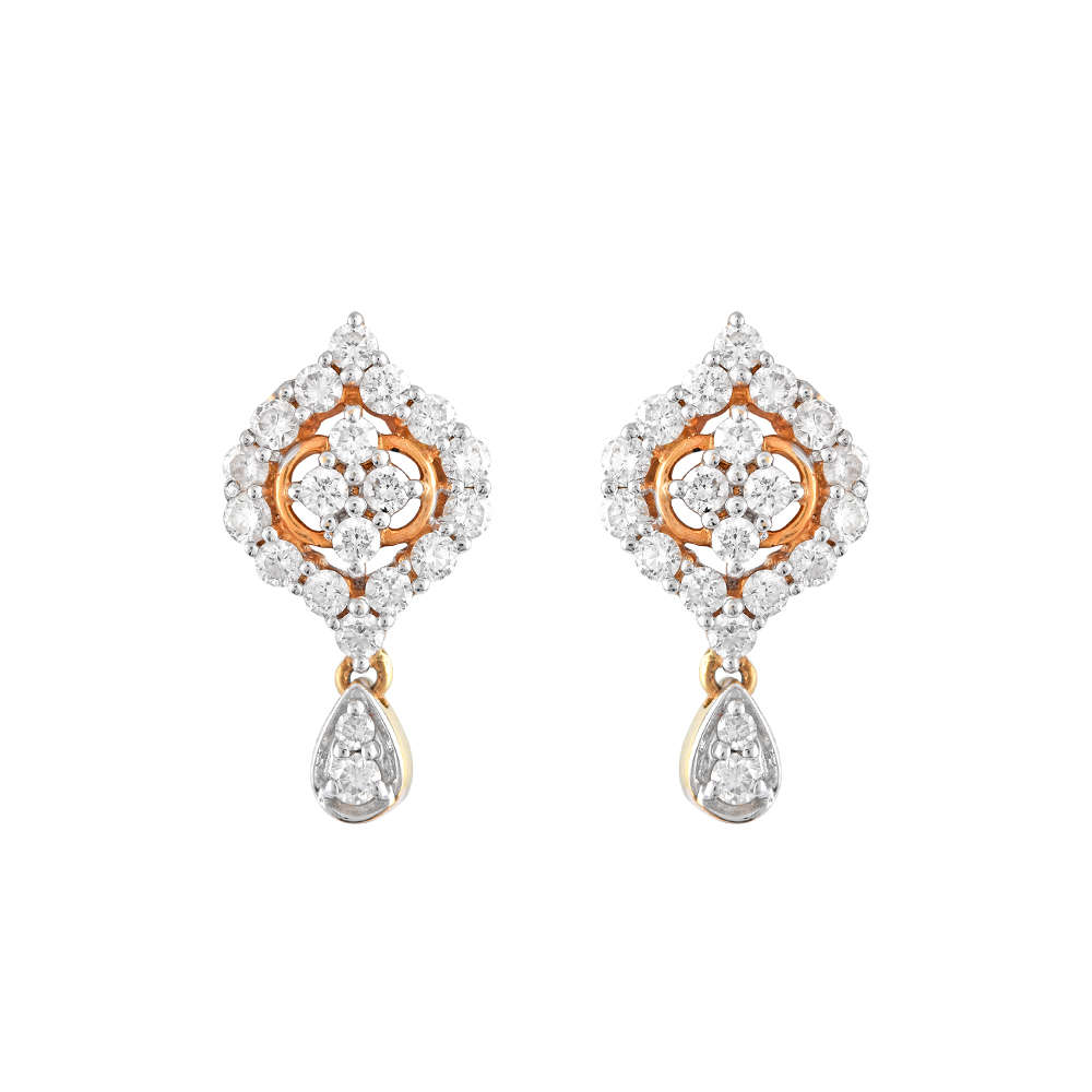 Glittering Floral Design Drop Dangler Diamond Earrings