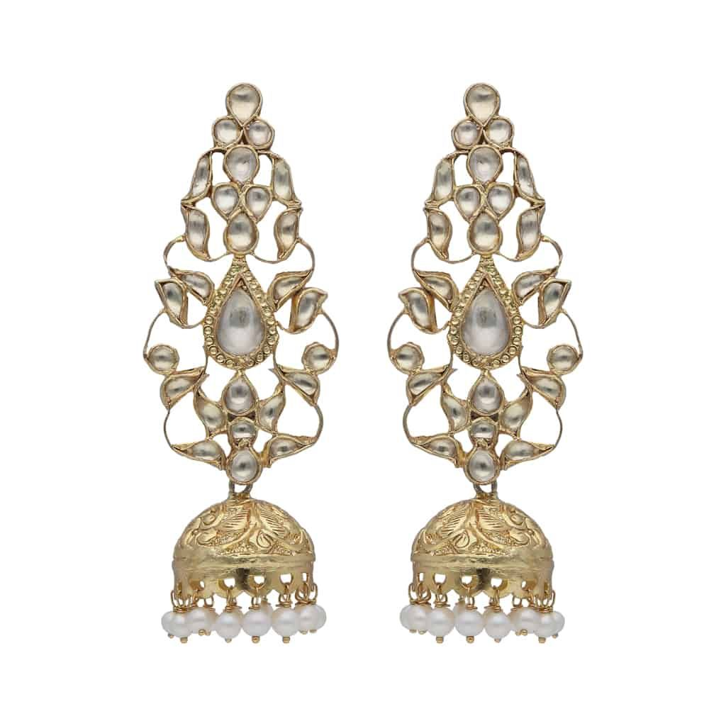 Silver Gold Plated Crafted Jhumki Earrings